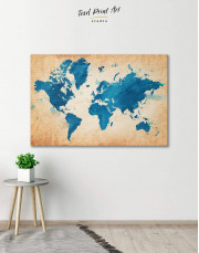 Blue Watercolor World Map Canvas Wall Art - Image 1