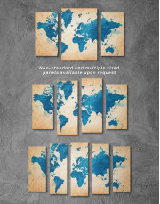 Blue Watercolor World Map Canvas Wall Art - Image 5