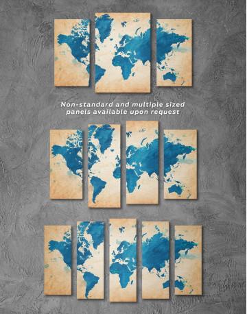 Blue Watercolor World Map Canvas Wall Art - image 2