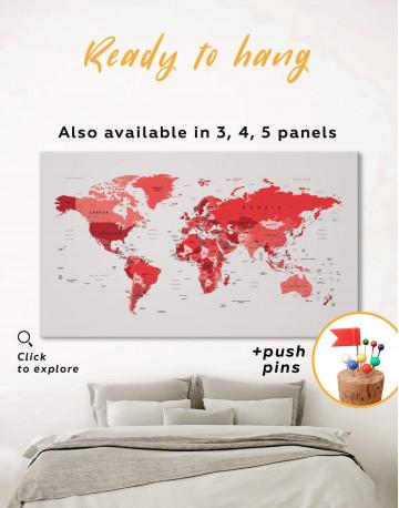 Red Push Pin World Map Canvas Wall Art