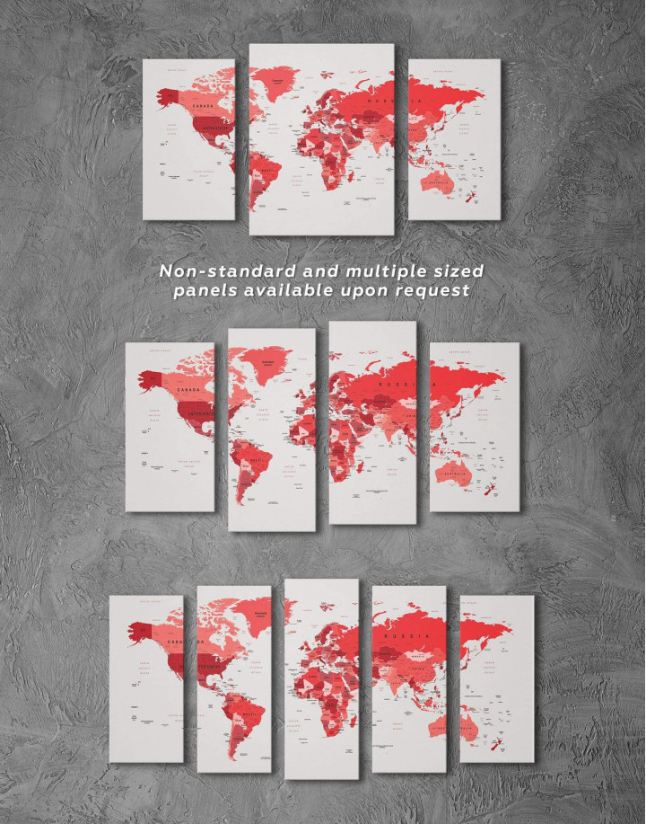 Red Push Pin World Map Canvas Wall Art - Image 2