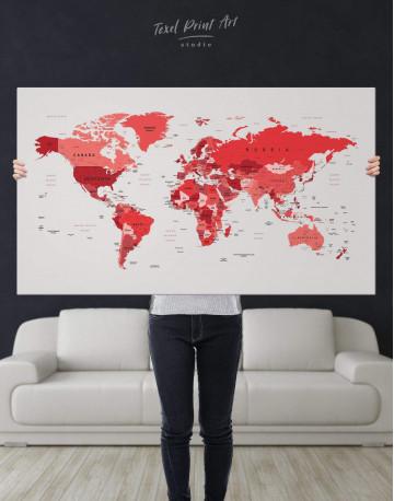 Red Push Pin World Map Canvas Wall Art - image 1