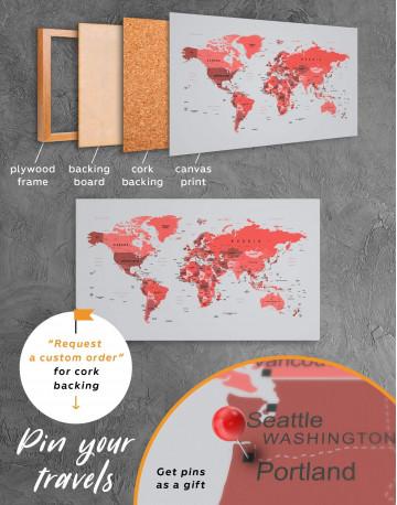 Red Push Pin World Map Canvas Wall Art - image 4