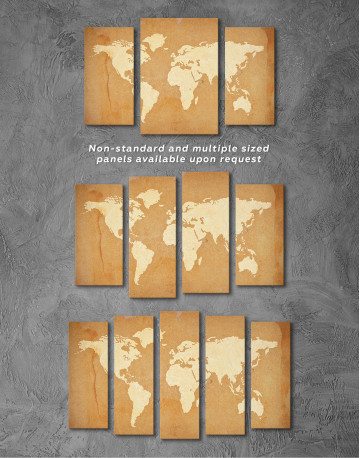 Abstract Sand World Map Canvas Wall Art - image 1