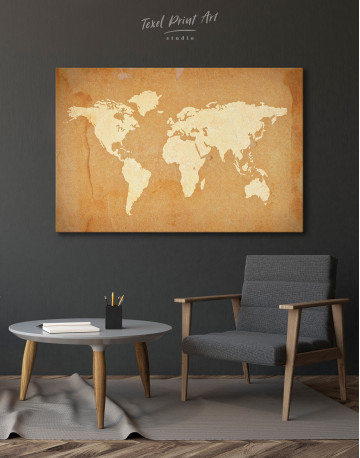 Abstract Sand World Map Canvas Wall Art