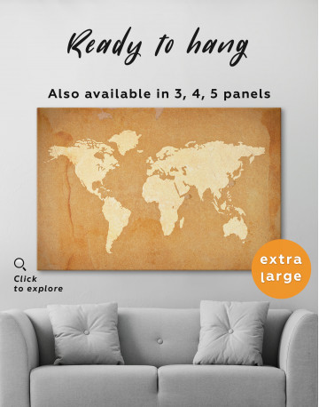 Abstract Sand World Map Canvas Wall Art - image 5