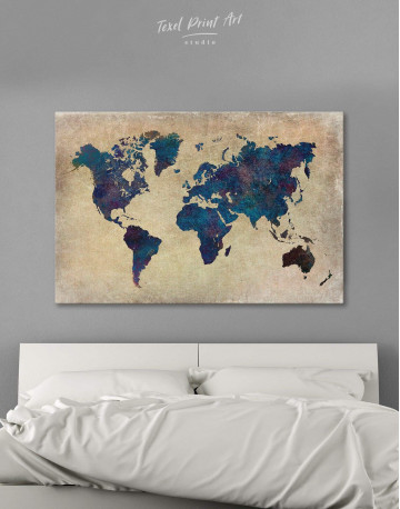 Abstract Blue World Map Canvas Wall Art