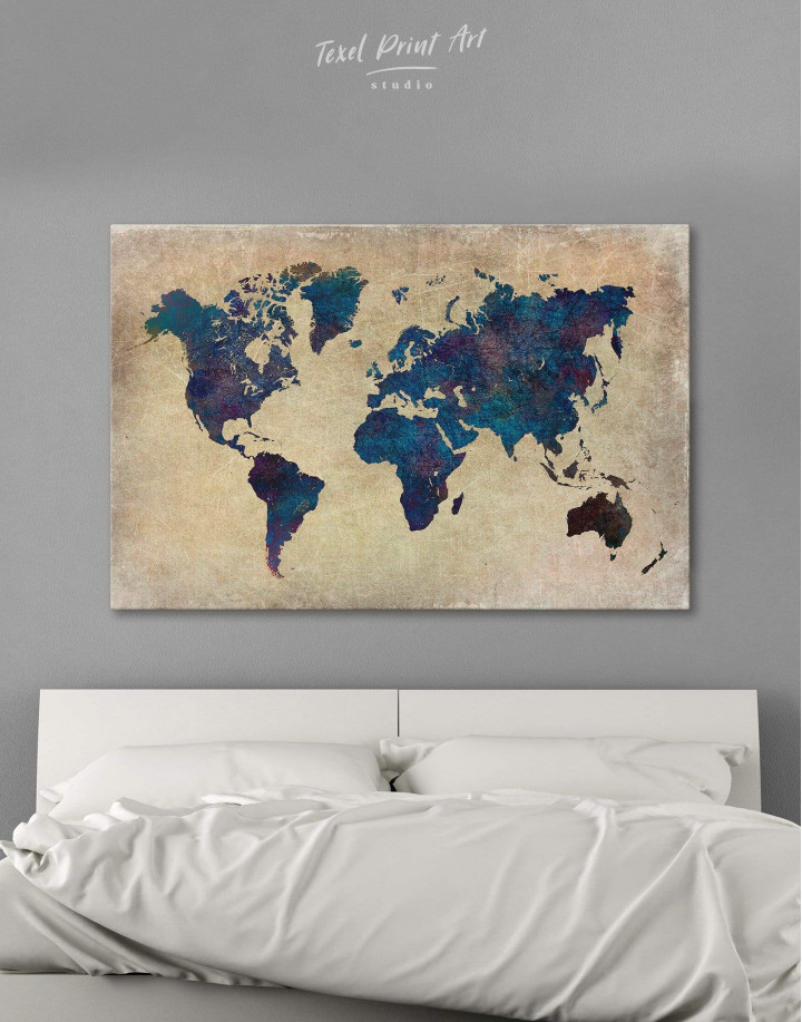 Abstract Blue World Map Canvas Wall Art - Image 0