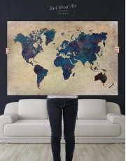 Abstract Blue World Map Canvas Wall Art - Image 2
