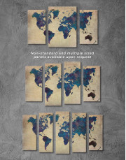 Abstract Blue World Map Canvas Wall Art - Image 5