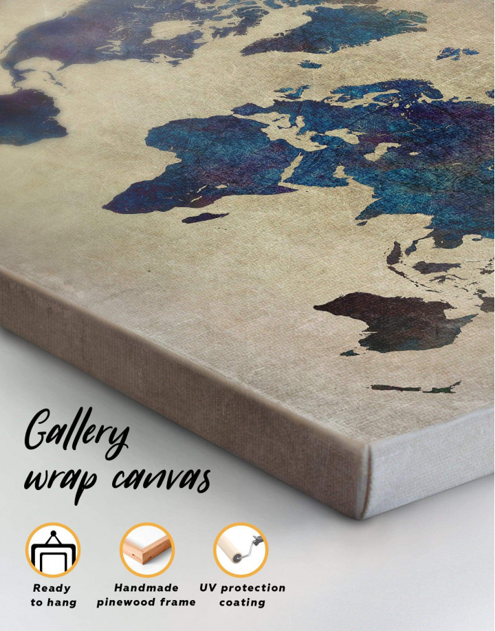 Abstract Blue World Map Canvas Wall Art - Image 3
