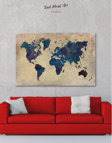 Abstract Blue World Map Canvas Wall Art - image 1