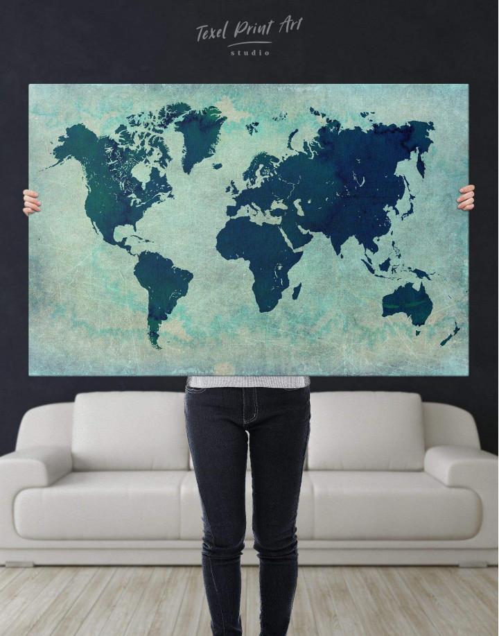 Modern Navy Blue World Map Canvas Wall Art - Image 5