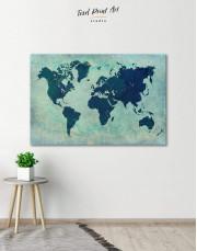 Modern Navy Blue World Map Canvas Wall Art - Image 0