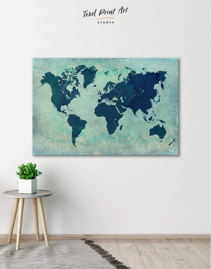 Modern Navy Blue World Map Canvas Wall Art