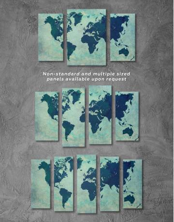 Modern Navy Blue World Map Canvas Wall Art - image 2
