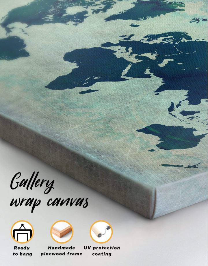Modern Navy Blue World Map Canvas Wall Art - Image 4