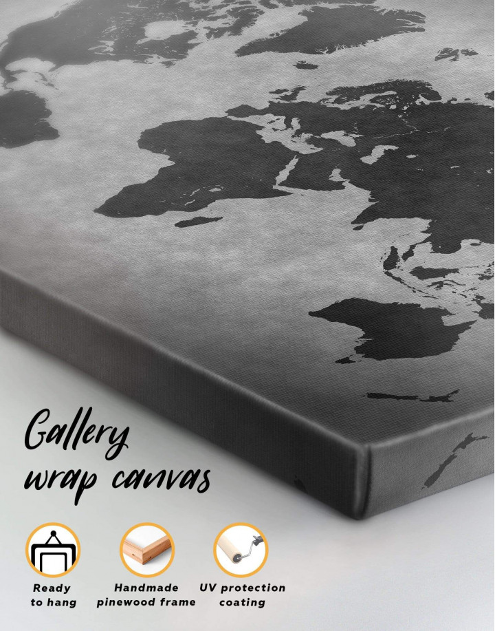 Abstract Grey World Map Canvas Wall Art - Image 1