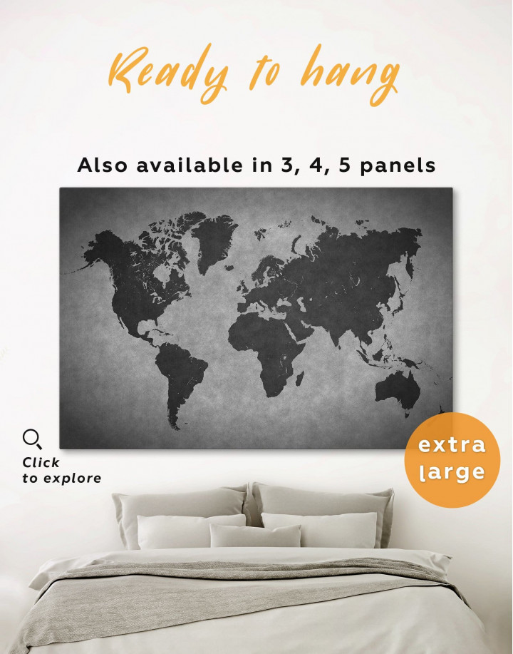 Abstract Grey World Map Canvas Wall Art - Image 0