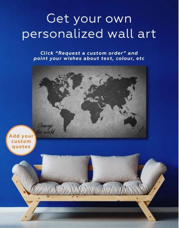 Abstract Grey World Map Canvas Wall Art - image 3
