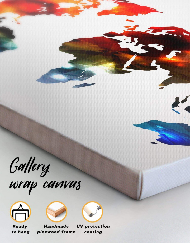 Minimalist Multicolor World Map Canvas Wall Art - Image 4