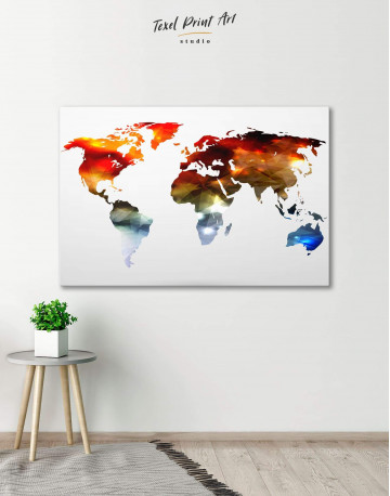 Minimalist Multicolor World Map Canvas Wall Art