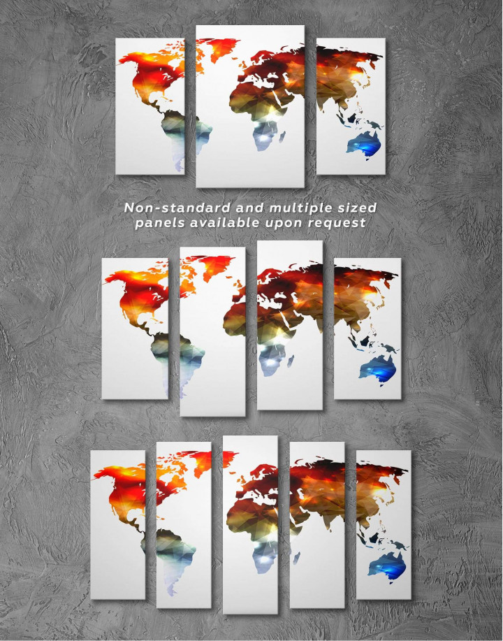 Minimalist Multicolor World Map Canvas Wall Art - Image 2