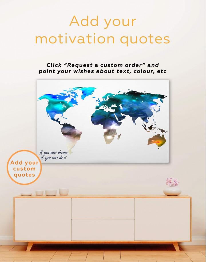 Minimalist Multicolor World Map Canvas Wall Art - Image 1