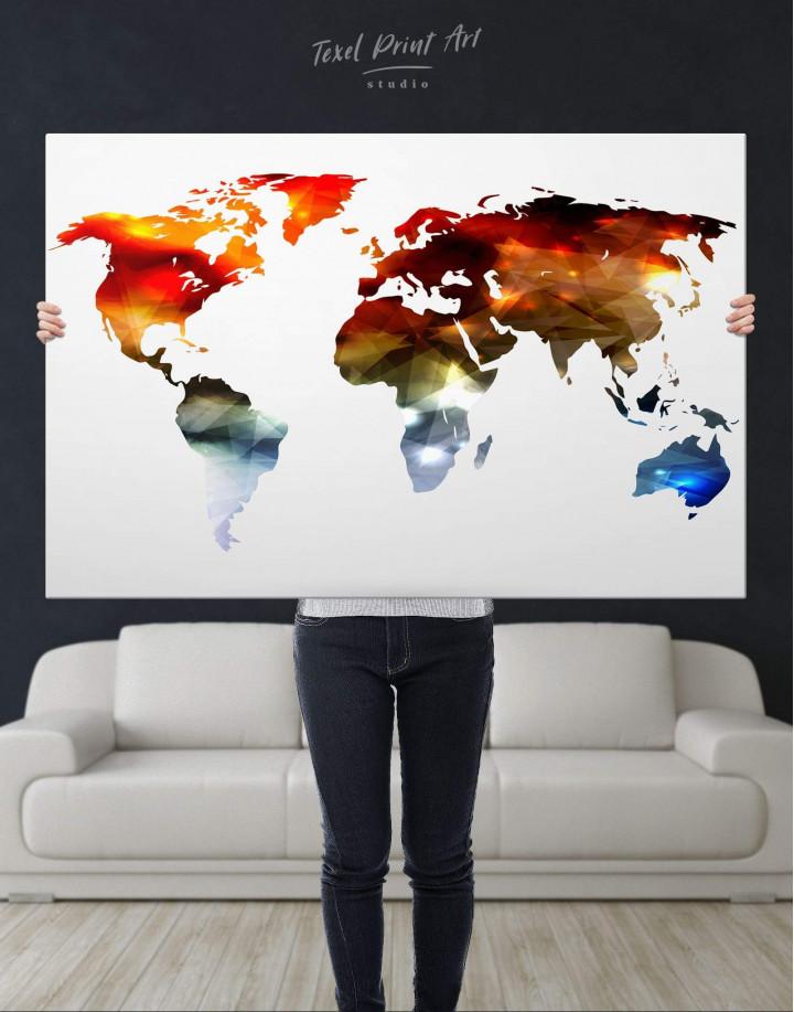 Minimalist Multicolor World Map Canvas Wall Art - Image 5