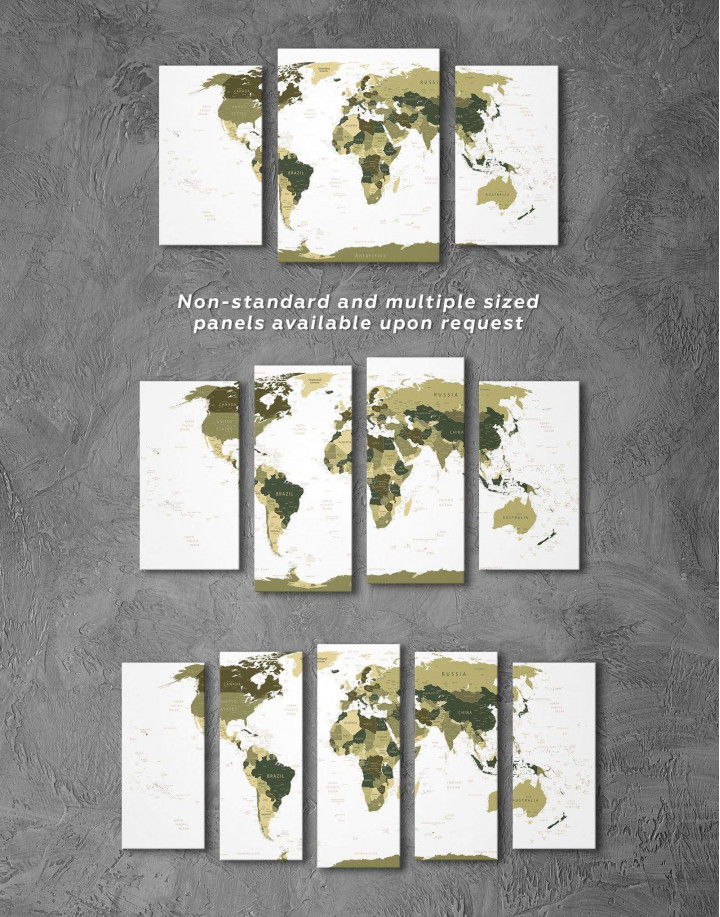 Olive Green Travel Push Pin World Map Canvas Wall Art - Image 2