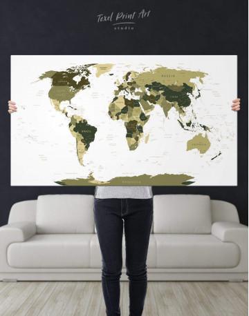 Olive Green Travel Push Pin World Map Canvas Wall Art - image 1