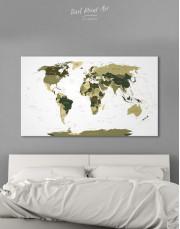 Olive Green Travel Push Pin World Map Canvas Wall Art - Image 5