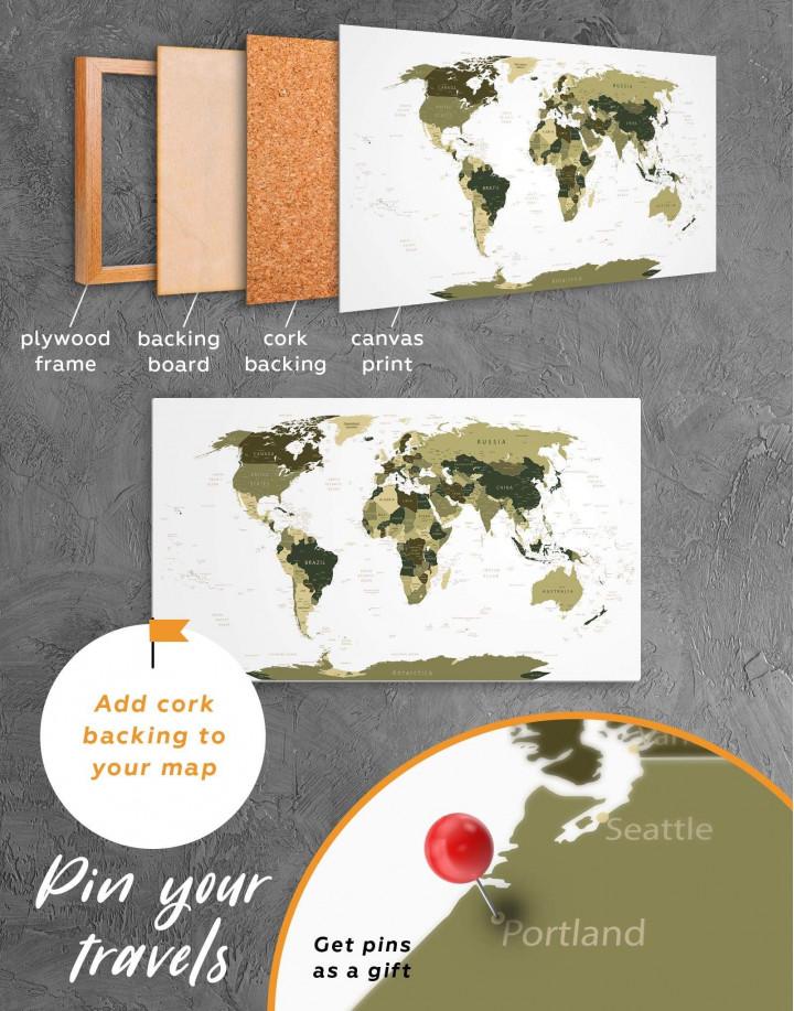Olive Green Travel Push Pin World Map Canvas Wall Art - Image 4