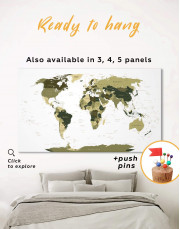 Olive Green Travel Push Pin World Map Canvas Wall Art - Image 0