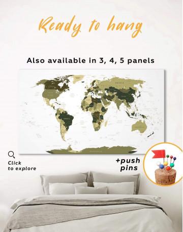 Olive Green Travel Push Pin World Map Canvas Wall Art