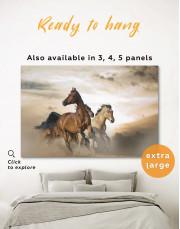 Wild Horses Running Desert Canvas Wall Art