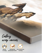 Wild Horses Running Desert Canvas Wall Art - Image 2