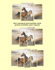 Wild Horses Running Desert Canvas Wall Art - Image 3
