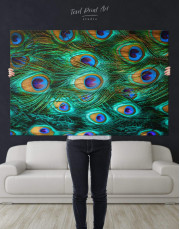 Peacock Feathers Canvas Wall Art - Image 1