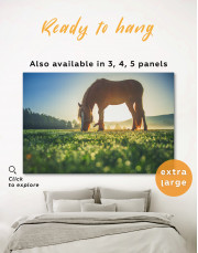 Horse on a Mountain Pasture Canvas Wall Art