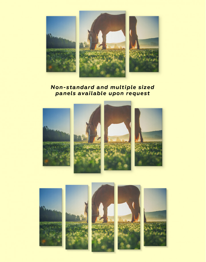 Horse on a Mountain Pasture Canvas Wall Art - Image 4