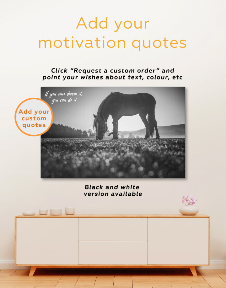 Horse on a Mountain Pasture Canvas Wall Art - Image 3