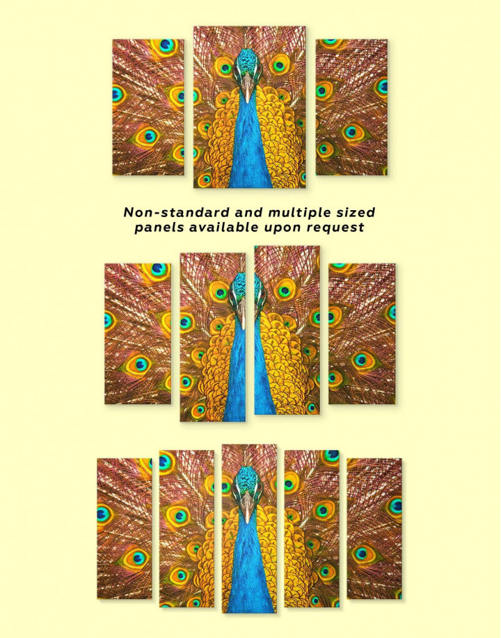 Gold Peacock Canvas Wall Art - Image 2