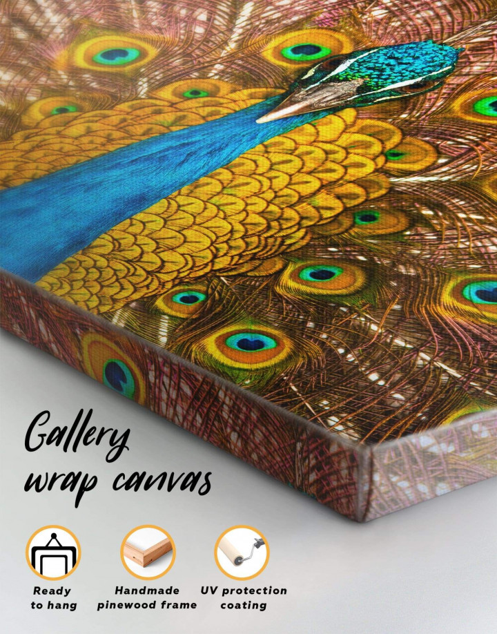 Gold Peacock Canvas Wall Art - Image 4