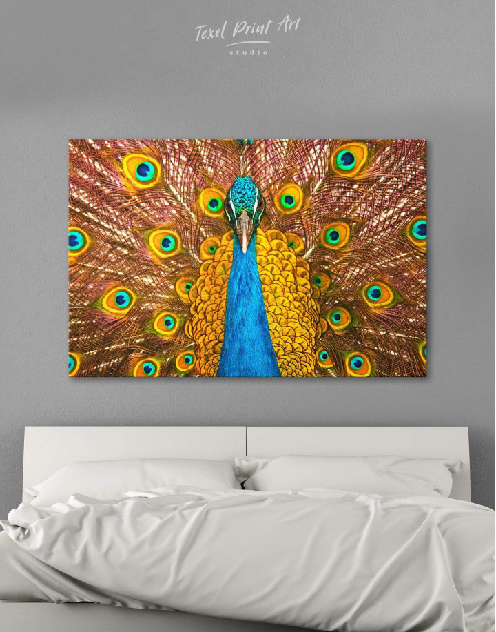 Gold Peacock Canvas Wall Art - Image 0