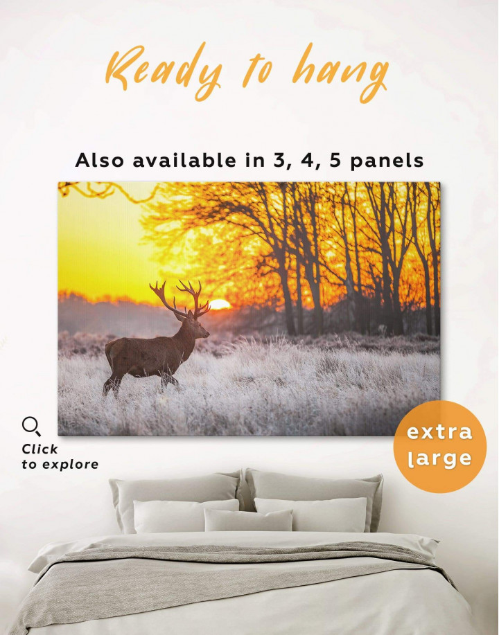 Wild Deer in Forest Canvas Wall Art - Image 0