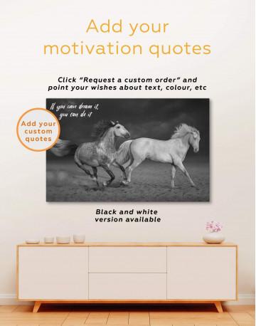 White Running Horses Canvas Wall Art - image 4