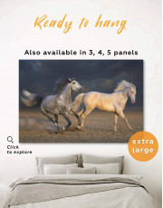 White Running Horses Canvas Wall Art - Image 0