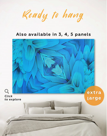 Abstract Symmetric Pattern of a Bird's Blue Feathers Canvas Wall Art