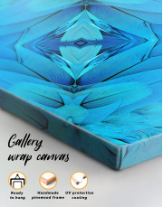 Abstract Symmetric Pattern of a Bird's Blue Feathers Canvas Wall Art - Image 2